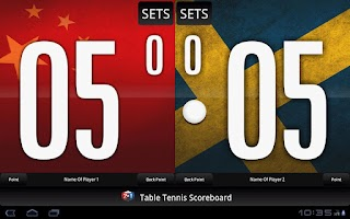 Screenshot of Table Tennis Scoreboard