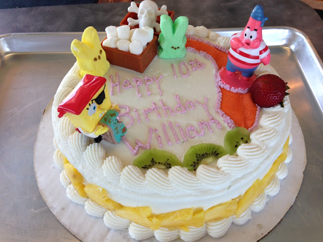 GF Vegan birthday cake for a 10 yr old boy's birthday. He was very happy to see Sponge Bob and Patri