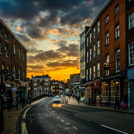 Sunset in York by Armando Bruck - City,  Street & Park  Street Scenes ( england, color, sunset, street, york )