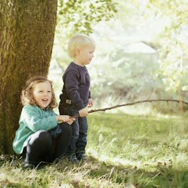Just Playing Together by Dominic Lemoine Photography - Babies & Children Children Candids ( playing, girl, tree, autumn, woodland, boy )