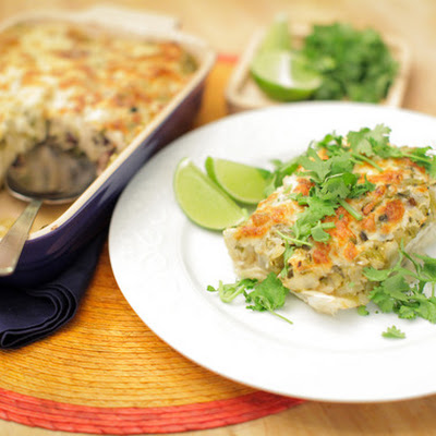 Black Bean and Quinoa Enchiladas with Salsa Verde
