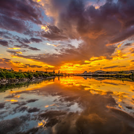 Fire Above by Shaun Peterson - Landscapes Sunsets & Sunrises ( reflection, sunset, beautiful, wyoming, river,  )
