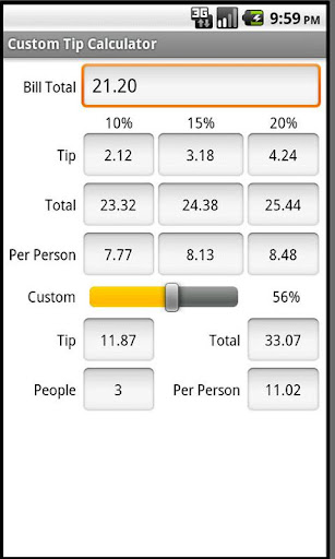 Custom Tip Calculator