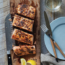 Planked Salmon with Maple-Mustard Glaze