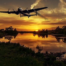 Returning home by Sam Smith - Transportation Airplanes ( ww2, aviation, sunset, bomber, raf, lancaster )