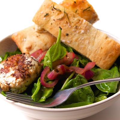 Wilted Spinach and Onion Salad with Herbed Goat Cheese