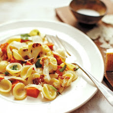 Pasta with Roasted Vegetables and Bacon