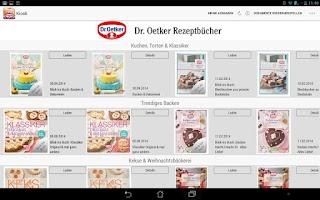 Screenshot of Dr. Oetker Rezeptbücher