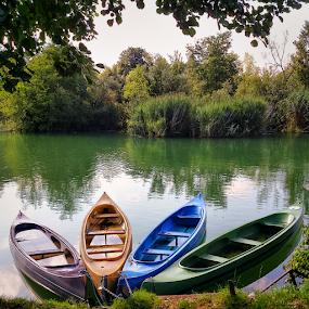 Four canoes by Oliver Švob - Instagram & Mobile Android ( sony, sony xperia, instagram, europe, karlovac, mrežnica, croatia, canoe, boat, canoes, mobile, river,  )