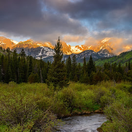 Storm Pass in Rocky Mountain NP by Thomas Sprunger - Landscapes Sunsets & Sunrises ( national park, mountains, forest, sunrise, river )