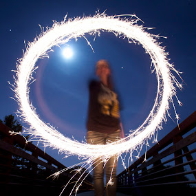 spinning sparklers by Chris Taylor - Abstract Fire & Fireworks ( 365, sky, light painting, night photography, bridge, people, sparklers )