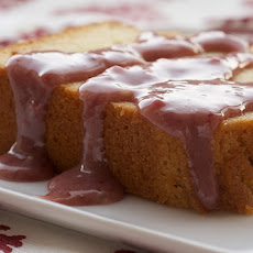 Cream Cheese Pound Cake with Strawberry-White Chocolate Sauce