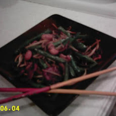 Stir Fried Green Beans With Sprouts and Cellophane Noodles