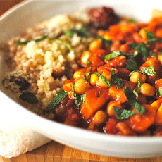 Tunisian-style Chickpea and Vegetable Tagine with Apricot Couscous