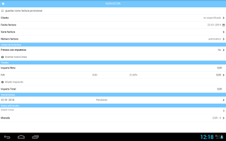 Screenshot of Facturas con FacturaDirecta