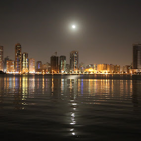 Buheira Corniche in Full Night Moon. by Manoj Ojha - City,  Street & Park  Night ( uae, urban lighting, night, full moon, buheira corniche, sharjah,  )