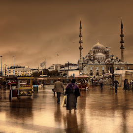 Istanbul by Ева Йорданова - City,  Street & Park  Street Scenes ( moscue, istanbul, walk, people, rain )