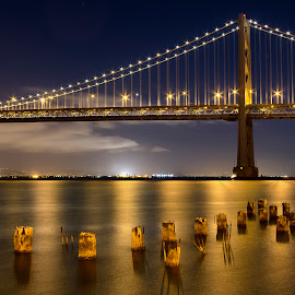 Moonlight over the Bay Bridge by Lee Jorgensen - Buildings & Architecture Bridges & Suspended Structures ( full moon, bay bridge, san francisco, moonlight )