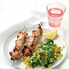 Marinated Chicken Kebabs and Corn Salad