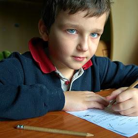 Homework II by Ioan-Dan Petringel - Babies & Children Child Portraits ( writing, children, study, kids, education )