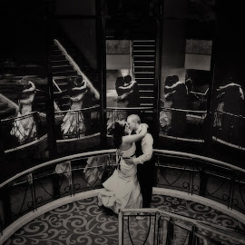 Glass Reflections by Alan Evans - Wedding Bride & Groom ( wedding photography, window, wedding day, wedding, aj photography, glass, canberra, reflections, bride and groom, canberra wedding photographer, marriage,  )