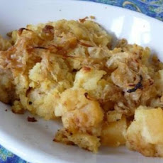 Mashed Potato, Rutabaga and Parsnip Casserole with Caramelized Onions