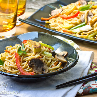Vegetable Lo Mein with Homemade Pasta {KitchenAid Giveaway}
