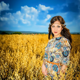 Queen of Slavonian Fields II by Mladen Bozickovic - People Portraits of Women ( fashion, model, vintage, beuaty, slavonia, croatia, retro, portrait, girl, sky, style, nature, outdoor )