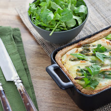 Asparagus & Spring Onion Tart with Arugula & Mache Salad