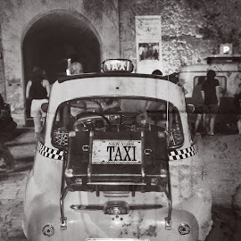 Taxi by Jo Polyxromos - Transportation Automobiles ( old, taxi, black and white, vintage, greek, greece, transportation )