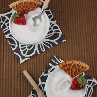 Roasted Strawberry Ice Cream with Graham Cracker Pizzelles