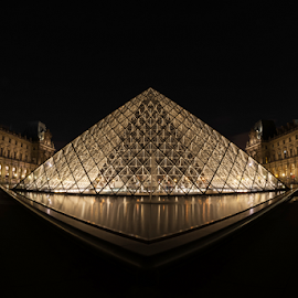 louvre by Bruce Thionville - Buildings & Architecture Statues & Monuments ( louvre, pyramid, long exposure, night )
