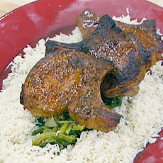 Hickory-Smoked Pork Chops with Braised Greens and Green Onion Rice Pilaf
