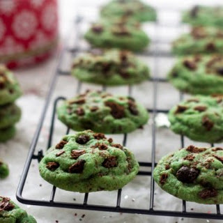 Mint Chocolate Chip Cookies with Brownie Brittle