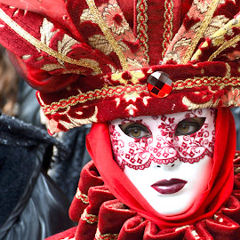 Red Mask 2 by Bruno Brunetti - People Musicians & Entertainers ( february, 2015, venice, red mask, carnival venice )