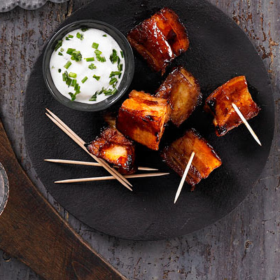 Bourbon-glazed Pork Belly Chunks