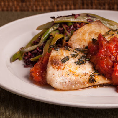 Sea Bream with Tomato Jam, Green Beans & Black Rice