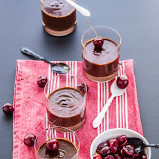 Chocolate pots de creme with red wine poached cherries