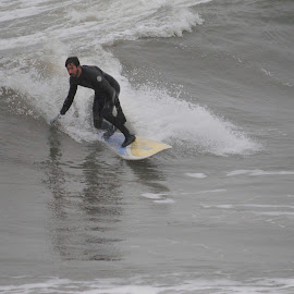 Rainy Day by Prentiss Findlay - Sports & Fitness Surfing ( surfing, rainy, surfer, ocean, beach, surf )