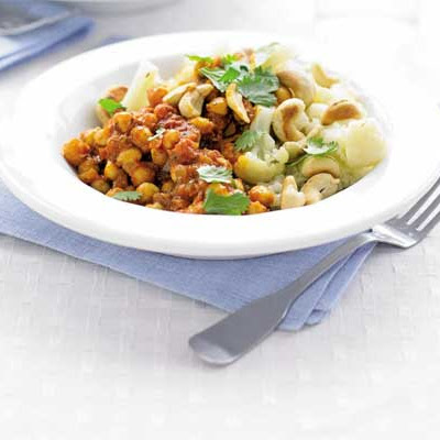 Cauliflower & Cashew Pilaf With Chickpea Curry