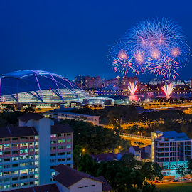 Sports Hub Community Open House & 2015 SEA Games one-year countdown Fireworks  by ZyMel Traveler - Buildings & Architecture Homes