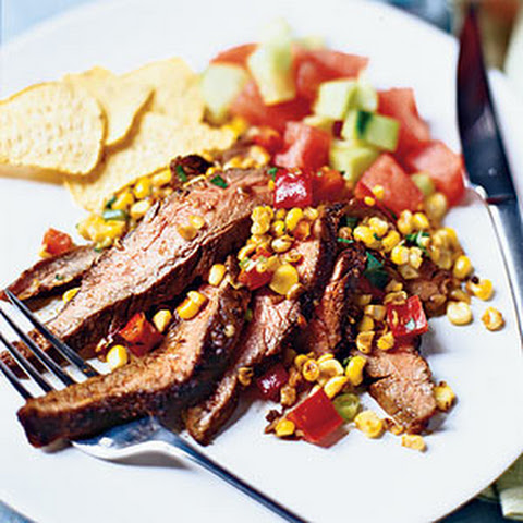 Grilled Flank Steak with Corn Salsa Recept | Yummly