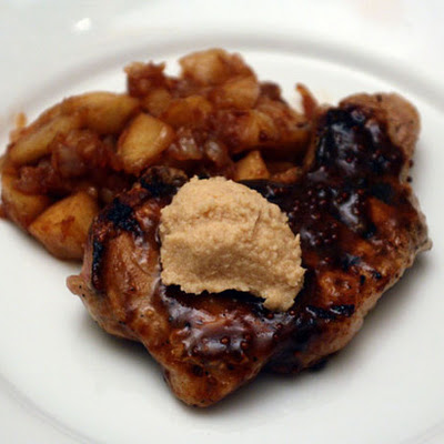 Molasses-Mustard Glazed Pork Chops with Apple Butter