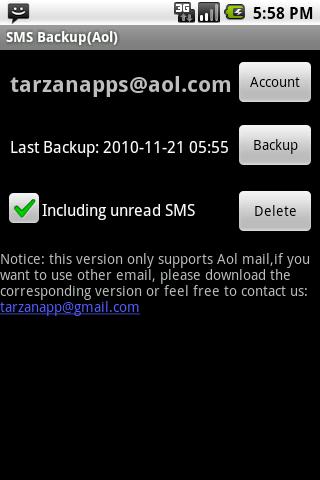 SMS Backup Aol