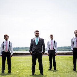 Boy Band by Logan Evans - Wedding Groom ( groomsmen, grass, green, shadow, groom )
