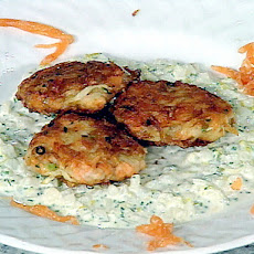 Smoked Salmon Potato Cake with Potato-Leek Cream
