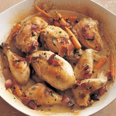 Chicken Braised with Bacon, Onions and Riesling