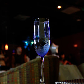 Blue Toast by John Riddick - Artistic Objects Cups, Plates & Utensils ( ambience, champagne, nightclub, club, drink, glass, night,  )