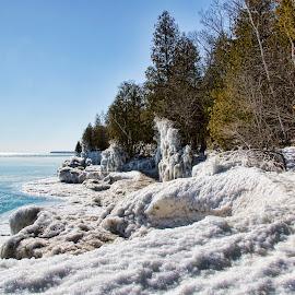 Wave Acion by John Kehoe - Landscapes Weather ( shore, michigan, park, ice, shoreline, icicles, lake )
