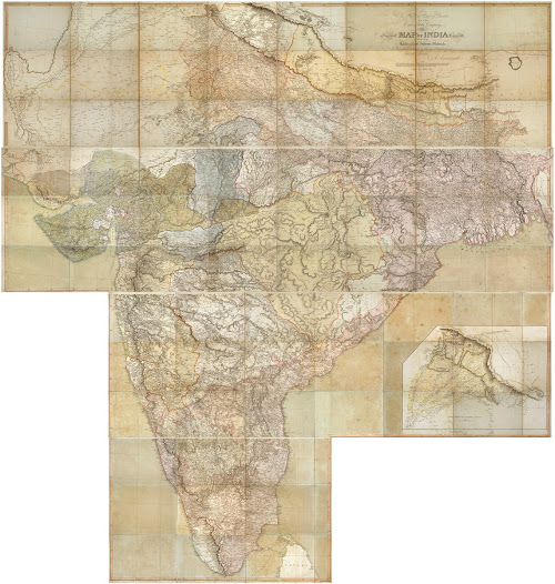 Aaron Arrowsmith  <b>India</b> 1822. Copper engraving with full original hand colour, printed on 9 sheets, in four un-joined parts as issued, total dimensions (if joined, irregular shape): 254 x 241 cm.  Aaron Arrowsmith's colossal wall map represents the apogee of the Enlightenment cartography of India and powerfully symbolizes the consolidation of British control over the subcontinent.   This gargantuan map occupies a special place in the history of the cartography of India, in that it is both a great technical achievement and a monumental object of profound political symbolism.